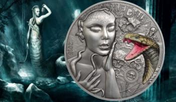 2 oz MEDUSA GORGON $10 Silver Coin Palau 2015 Marble inlay