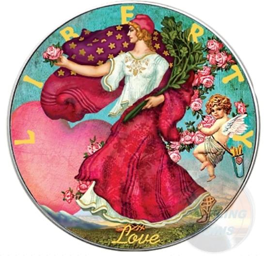 LOVE Walking Liberty Silver Eagle 1 Oz Silver Coin $1 US 2016
