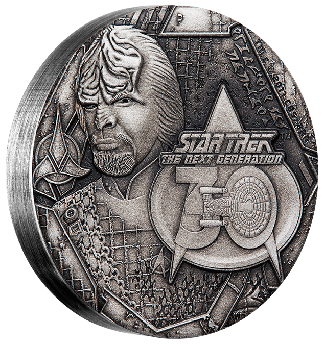 LIEUTENANT COMMANDER WORF - STAR TREK: THE NEXT GENERATION - 2017 2 oz Silver Antiqued Coin