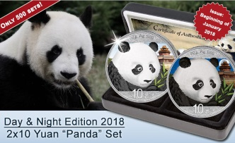 2018 PANDA Day/Night set Colorized Silver Coin 10 Yuan China