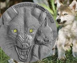 WOLF - WILDLIFE FAMILY - 1 OZ ULTRA HIGH RELIEF SILVER COIN W/ SWAROVSKI NIUE 2017
