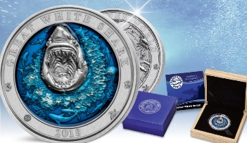 GREAT WHITE SHARK Underwater World 3 Oz Silver Coin 5$ Barbados 2018
