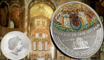 BASILICA SAN VITALE Mosaic Convex 1 Oz Silver Coin 5$ Cook Islands 2017