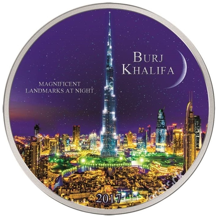 BURJ KHALIFA Landmarks at Night - 2000 CFA 2 oz Silver Coin - Ivory Coast 2017