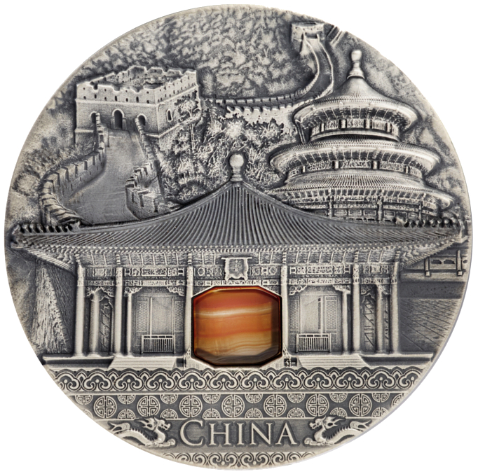 CHINA Imperial Art - Agate insert 2 oz Silver Coin 2$ Niue 2016