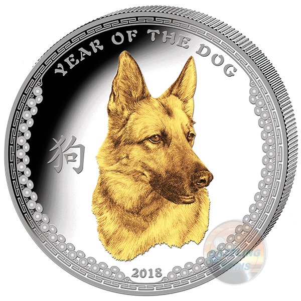 YEAR of the DOG 1 Oz Silver $5 High Relief Gilded Coin 2017 Palau