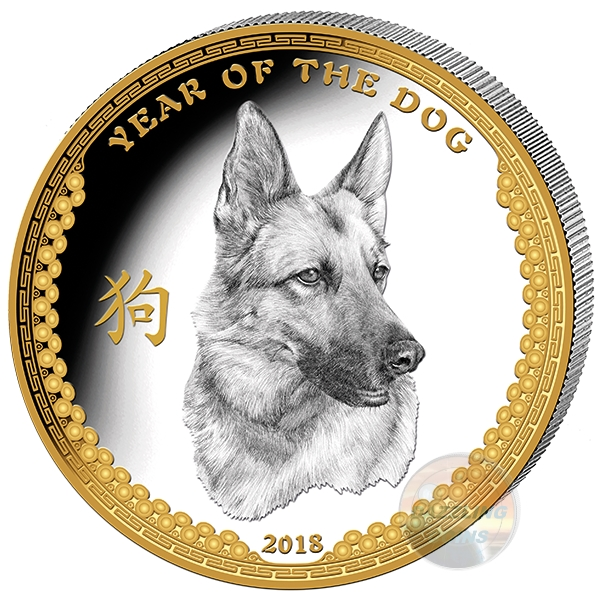 YEAR of the DOG 1 Oz Silver $5 High Relief Proof Coin 2018 Palau