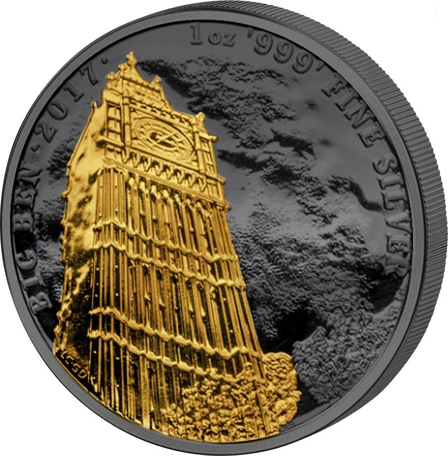 BIG BEN Golden Enigma 1 Oz Silver Coin 2£ United Kingdom 2017