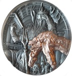 HADES GODS OF OLYMPUS 2 OZ SILVER COIN WITH ROSE GOLD 5$ NIUE 2018