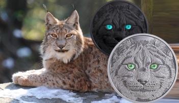 LYNX Glow-In-The-Dark Eyes $15 Silver Coin 2017 Canada