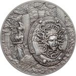 SHIELD OF ATHENA - AEGIS WITH MEDUSA 2 OZ SILVER COIN COOK ISLANDS 2018