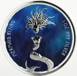 MERMAID RISING COLOURED 1 OZ SILVER PROOF COIN 1$ FIJI 2018