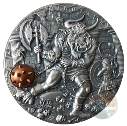 MINOTAUR - ANCIENT MYTHS - 2 oz High Relief Silver Coin w/Brass Inlay 2017 Niue