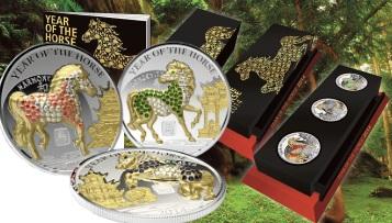 PAVE HORSE 3D Lunar Year 3 Silver Coin Set 500 Francs Rwanda 2014