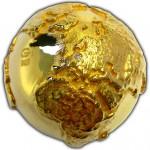 GOLDEN DIAMOND GLOBE FIRST 3D 2 OZ SILVER COIN 2$ NIUE 2017