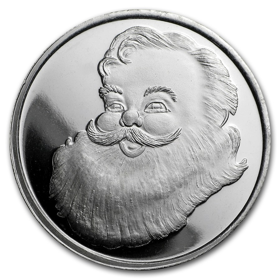 2017 SANTA 1/2 oz Silver Round with a Velvet pouch