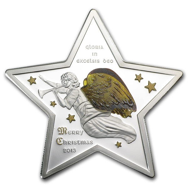 3D ANGEL Christmas Star Gloria Excelsis Deo Silver $5 Coin Cook Is. 2013