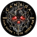 SMOKED SKULL MAPLE LEAF 1 OZ SILVER RUTHENIUM COIN 5$ CANADA 2018