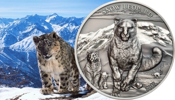 SNOW LEOPARD - HiRe Minted Antique Finish Coin 500 Togrog 2017 Mongolia