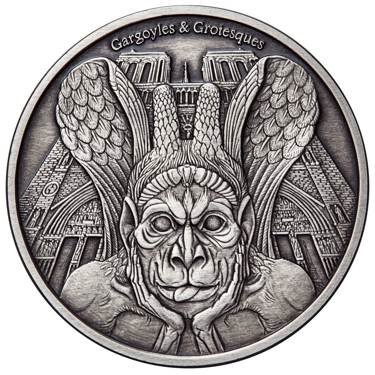 SPITTER Gargoyles & Grotesques Paris Notre Dame AF 1 Oz Silver Coin Chad 2017